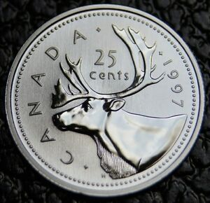 1997-CANADA-25-CENTS-Low-Mintage-From-UNC-Mint-Set-NOT-ISSUED-FOR-CIRC-NCC