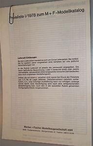2019 Neuer Stil Preisliste I/1978 Zum M+f Modellkatalog Mit Dem Besten Service