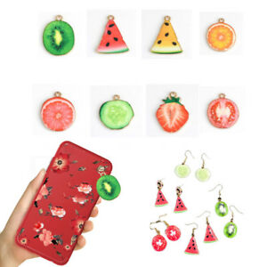 New 10pcs Enamel Fruit Charm Pendants Diy Necklace Jewellery Making