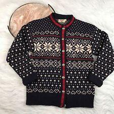 Vtg L.L. Bean Cardigan Wool Fair Isle Sweater USA Snowflake Navy Blue Womens M