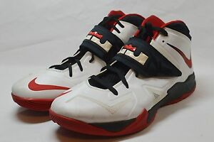 51ed9b19347c Nike Zoom LeBron James Soldier VII White Black Red  599264-100 Size ...