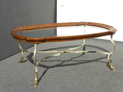 Vintage French Country SCALLOPED Glass COFFEE TABLE Brass Huff Feet Wrought Iron
