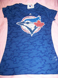 finest selection 9d34e 7cb56 Details about Majestic Women's Toronto Blue Jays Burn Out Shirt NWT Large