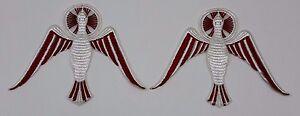 Vintage-Spirito-Santo-Colomba-Ricamato-da-Cucire-Cristiano-Emblema-Toppa-2-Pcs