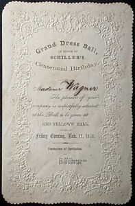 1859 ORIGINAL ANTIQUE GRAND DRESS BALL INVITATION NEW ORLEANS HISTORY SCHILLER