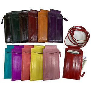 Genuine Eel Skin Leather Crossbody Bag Cell Phone Holder Case Purse Wallet