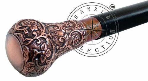 Antique Brass Designer Knob Handle Victorian Cane Vintage Wooden Walking Stick