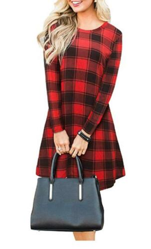 Women/'s Red Green Tartan Check Print Long Sleeve Swing Skater Dress Sizes 8-26
