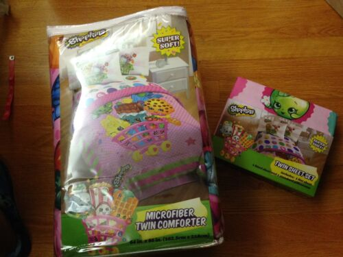 Shopkins Microfiber Twin Comforter and Twin Sheet Set, new