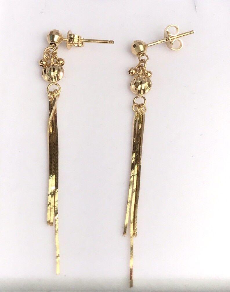 18k Solid Yellow gold Italian Ball Dangle Stud Earrings, Diamond Cut 2.57 grams
