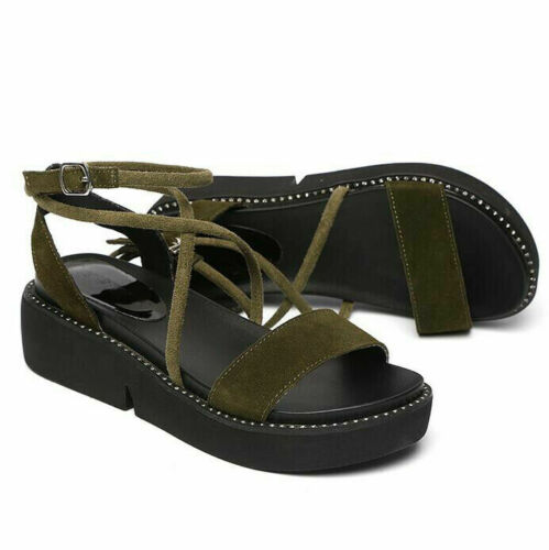 Details about  /Womens Strappy Gladiator Platform Wedge Sandals Ladies Chunky Summer Shoes Size