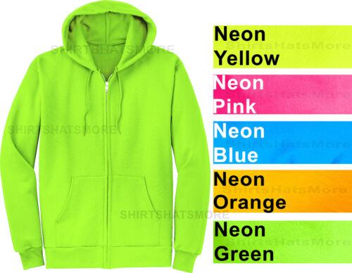 Mens Full Zip Hooded Sweatshirt NEON Hoodie Hoody Sizes S-4XL Cotton//Poly NEW