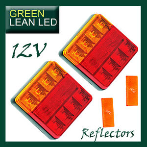 12V-Trailer-Tail-Lights-LED-Lamp-Submersible-Boat-REFLECTORS-Parts-Accessories