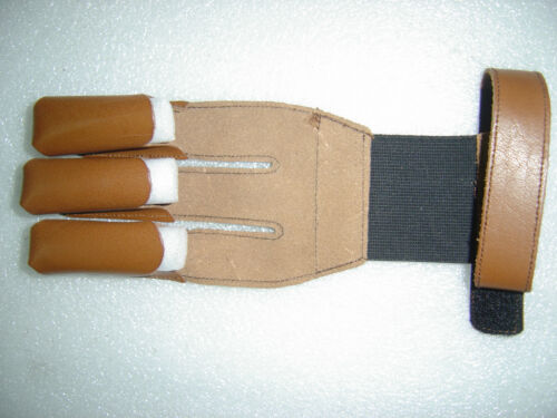 ARCHERS SHOOTING 3 FINGER GLOVE,BURNISH GLOVE HUNTING SHOOTING THICK LEATHER