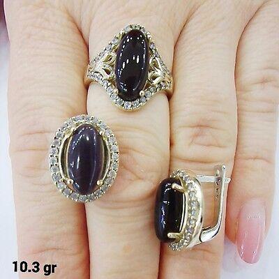 TURKISH MADE JEWELRY 925 STERLING SILVER BLACK ONYX EARRINGS & RING SET SZ 7.25