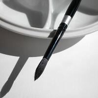 Silver Brush 3000s-8 Black Velvet Short Handle Blend Squirrel And Risslon Brush,