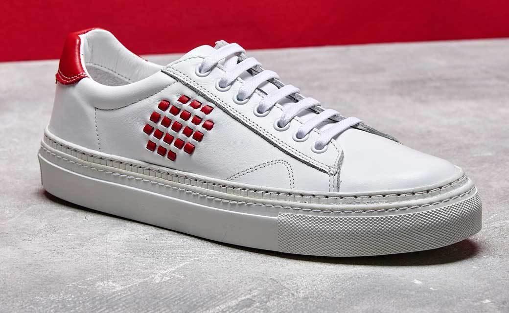 NUOVO BePositive Premium Anniversario Bianco Rosso Pelle Pelle Pelle Scarpe da ginnastica Scarpe da ginnastica UK3 da3961