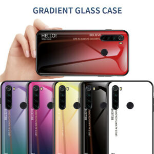 For-Xiaomi-Redmi-Note-8-7-Pro-7-7A-Gradient-Tempered-Glass-Hard-Back-Case-Cover