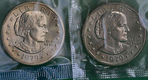 1979 P and D Susan B Anthony Dollar BU Coins from Mint Set Cellos TWO SBA