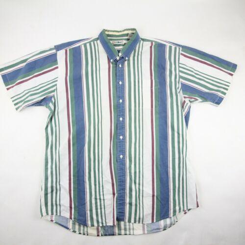 Vintage L.L. Bean Mens Button Up Shirt Blue White