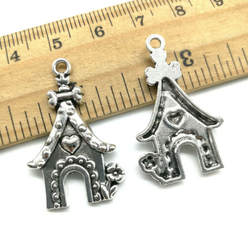 4~40pcs flower house antique silver charms pendants jewelry marking DIY 31*19mm