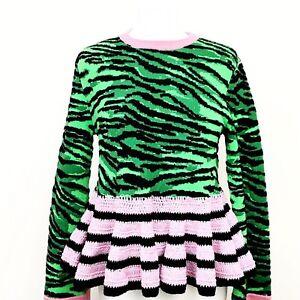 f7687dc7110d Kenzo For H&M HM Blue Green Zebra Wool Blend Knit Sweater Sz S   eBay