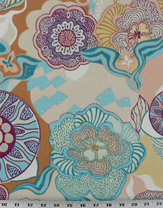 Details About Drapery Upholstery Fabric Indoor Outdoor Retro Tropical Print Turquoise