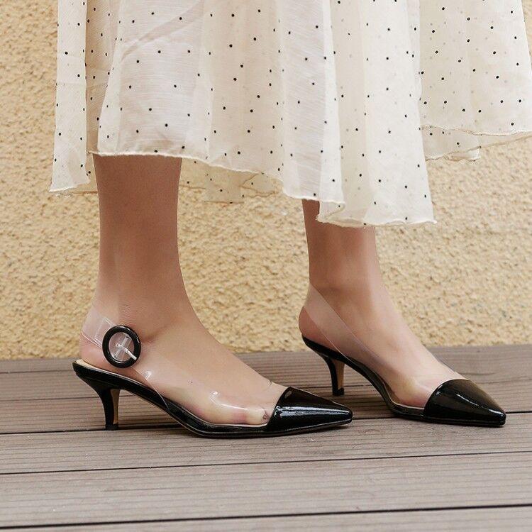 donna Pointy Toe Transparent Buckle Strap Slingback Stilettos High Heel scarpe