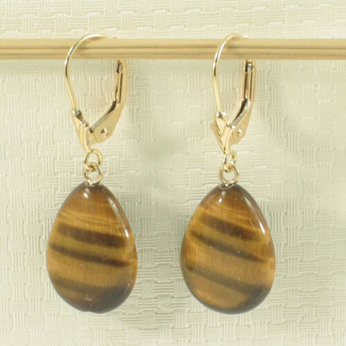 14k Yellow Solid Gold Lever Back Genuine Brown Tiger-Eye Dangle Earrings TPJ