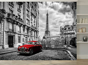 Black and white paris red car eiffel photo wallpaper wall for Eiffel tower wall mural black and white