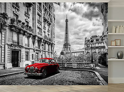 Black And White Paris Red Car Eiffel Photo Wallpaper Wall Mural Giant Wall Decor Ebay