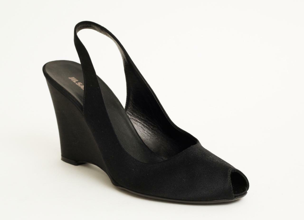 JIL SANDER Black Satin Peep-Toe Slingback Wedge Heels 8-38