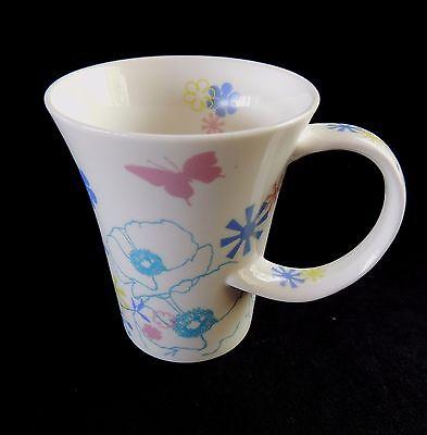 Starbucks Floral Mug 2006 Butterflies Poppies Twist Handle Cup Tall Latte 12oz