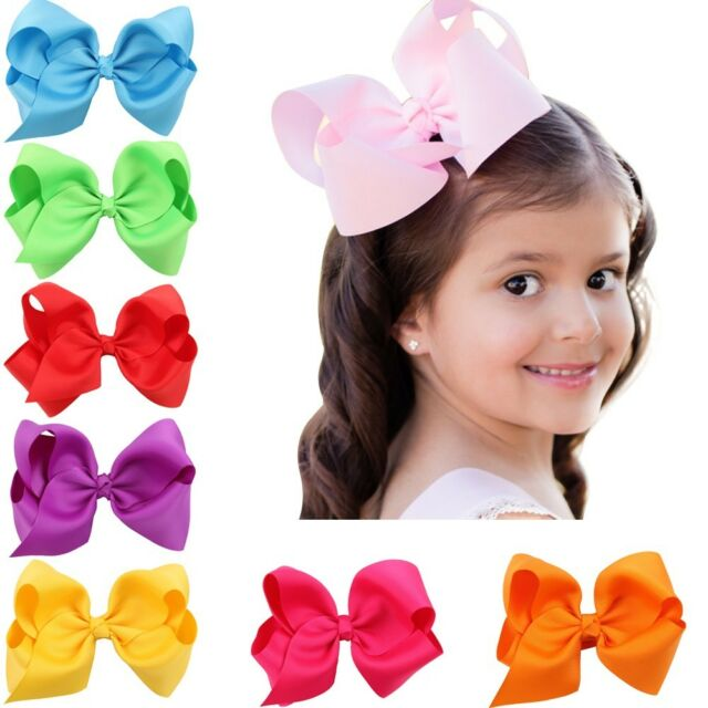 Baby Girls 6 Huge Boutique Hair Clip Grosgrain Ribbon Bows Kids