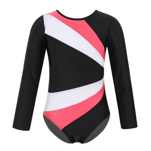 Girls Kids Dance Dress Gymnastics Leotard Long Sleeve Unitards Bodysuit Jumpsuit