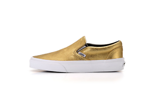 VANS Classic Slip On Scarpa Unisex Metallic Leather Gold Codice VN0 0MEG8U