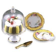 Reutter Porzellan Kuchenglocke / Glass Dome Cake Stand Set Puppenstube 1:12