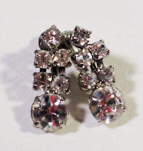 Pretty-Vintage-Signed-CORO-Rhinestone-Drop-Earrings-Screw-Clip-On-Style