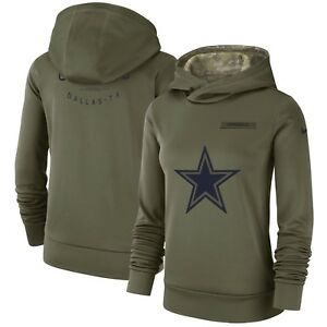 the latest 0a752 b5a93 Details about Dallas Cowboys Nike Women's Salute to Service Performance  Pullover Hoodie -Olive