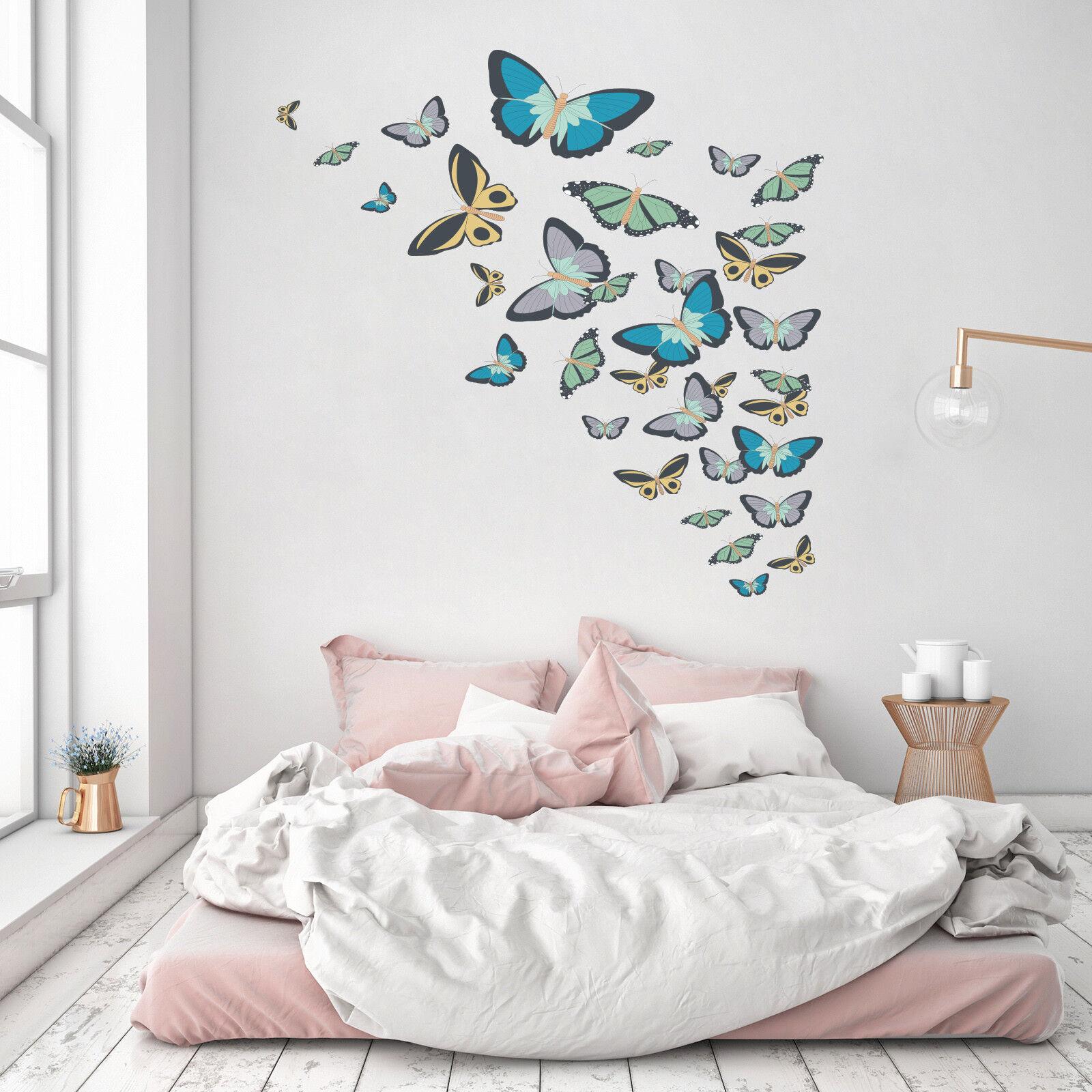 3D Butterfly Group 4 Wallpaper Mural Floor Wall Print Decal Wall Sticker UK