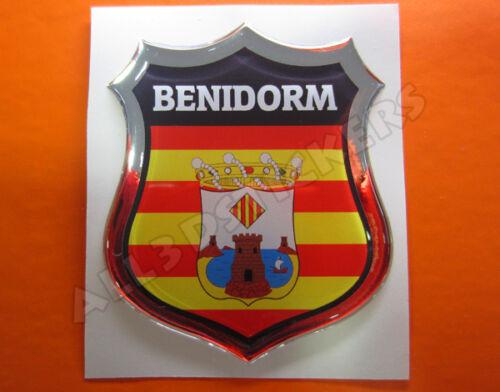 Todas las Banderas del MUNDO Pegatina Emblema 3D Relieve Bandera Benidorm