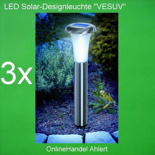 3x LED Solarleuchte Solar Leuchte Lampe Gartenleuchte Gartenlampe Edelstahl NEU