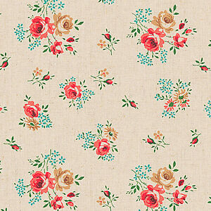 LINEN-COTTON-BLEND-FABRIC-CURTAIN-TABLETOP-COVERING-RED-ROSE-NATURAL-MUSLIN-55-034-W