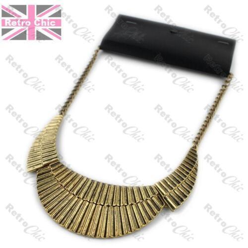 BIG retro CORRUGATED METAL NECKLACE collar SILVER//VINTAGE GOLD PLTD curved bib