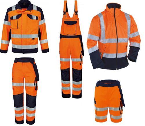 Warnschutzkleidung Latzhose Bundhose Arbeitsjacke Softshelljacke orange//marine