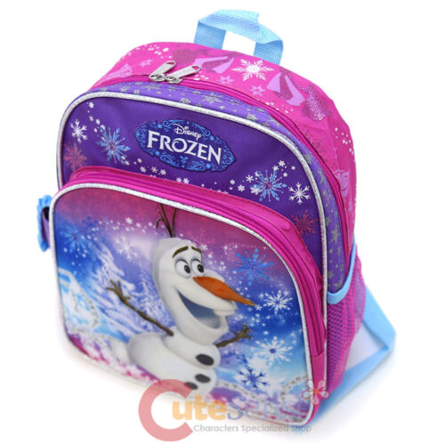 "Disney Frozen Olaf 12/"" School Backpack Snow Man Pink Purple Small Bag"