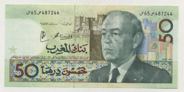 Morocco 50 Dirhams 1987/AH1407 Pick 64 UNC Uncirculated Banknote