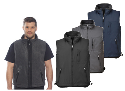 Portwest Reversible Bodywarmer Gilet Zipped Jacket Fleece Lined Showerproof S418 AusgewäHltes Material