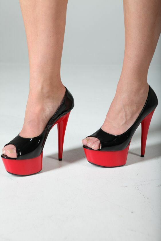 Sexy Plateau Pantolette Lack High-Heels red-black 41 Peep Toe