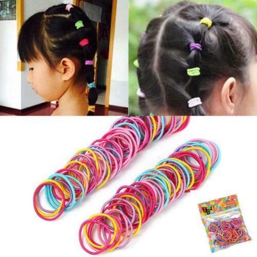 100Pcs Lot Kids Girl Elastic Rope Hair Ties Ponytail Bands Holder Head Hair K4Z9